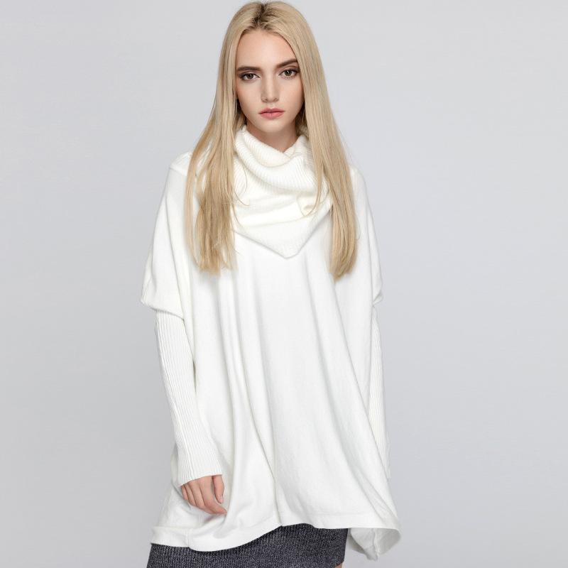 Women Sweaters and Pullovers Batwing Sleeve Unique Scarf Collar Designer Fashion Female Loose Comfortable Knitted Sweater Tops