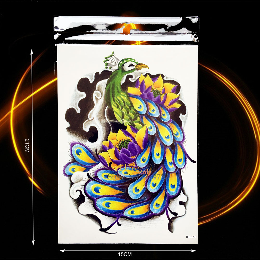 1PC Exquisite Body Arm Art Temporary Tattoo Sticker Beauty Peacock Lotus Design Waterproof Leg Decals Fake Tattoo Sleeve HHB570