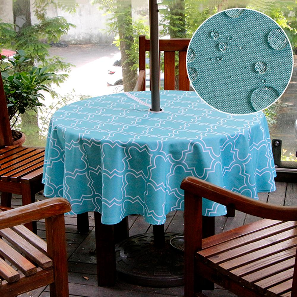 60 Inch Round, Beige Waterproof Table Cover for Patio Garden Spring Summer Birthday Party GULI Outdoor Tablecloth with Zipper and Umbrella Hole