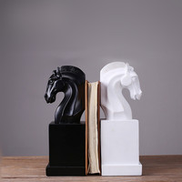 MRZOOT New Resin Modern For Creative Home Decoration Black And White Horse Head Book Stand Office Study Crafts Ornaments