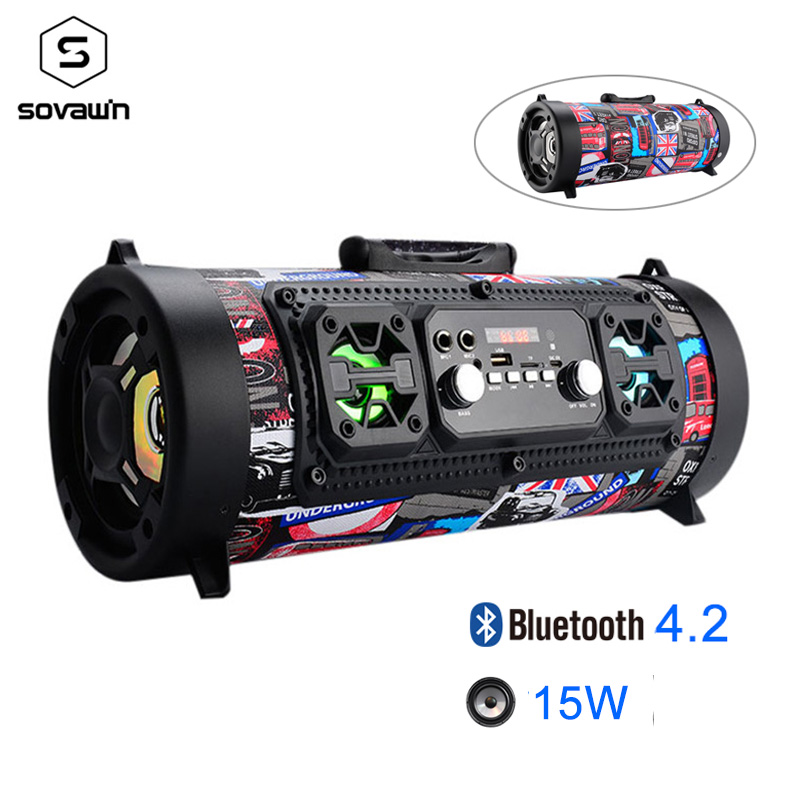 15W Portable Outdoor Bluetooth 4.2 Speaker FM Radio USB Car Subwoofer HD Surround Stereo Wireless Speaker Support TF AUX Mic MP3 bluetooth