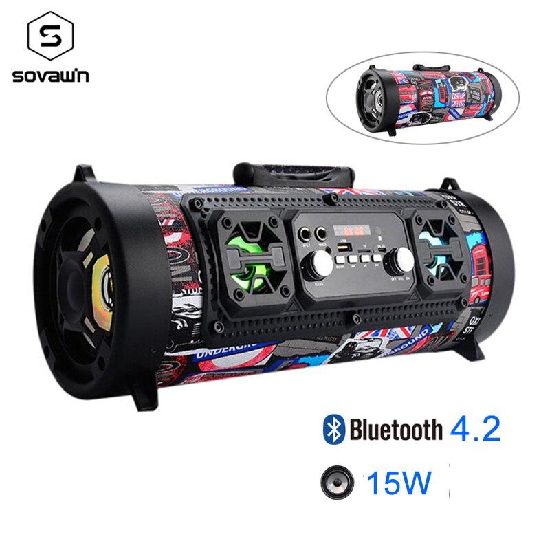 15 W Portable extérieur Bluetooth 4.2 haut-parleur FM Radio USB voiture Subwoofer HD Surround stéréo sans fil haut-parleur Support TF AUX Mic MP3