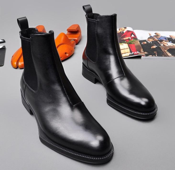 Hommes cuir de vachette Martin bottes printemps automne confortable noir Simple mode élastique bottines hommes angleterre Style haut - 3