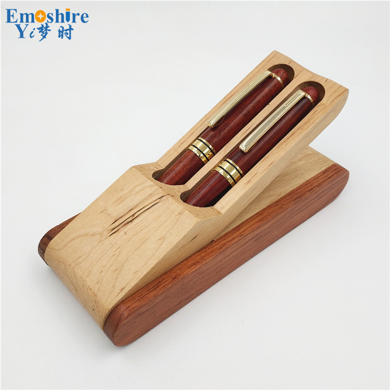 Free shipping Luxury Wooden Ballpoint Pen Box Classic Brand Roller Ball Pen for Canetas Office Supplies Wood Pencil Case P102
