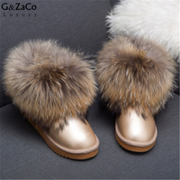 Natural Fox Fur Women S Winter Snow Boots Top Quality Cotton Boots Winter Cow Muscle Big