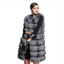European Style 2016 Fashion new faux fur coat women's fur vest silver fox hair Fur Coat Women size 6XL
