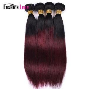 Image 3 - 3 пряди бразильских волос Ombre, предварительно окрашенные, с закрытием шнурка 1B/ 99J, прямые переплетенные человеческие волосы в комплекте, не Реми