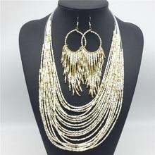 Счастливый женский Красивый Национальный Ветер серьги бусы ожерелье длинные серьги ожерелье Хорошее горячая Распродажа ювелирный набор