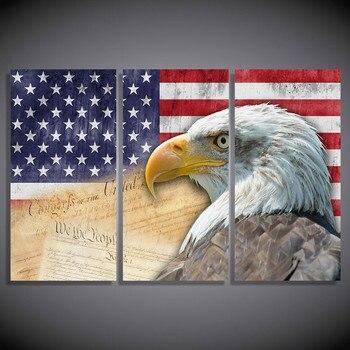 Без рамки абстрактный современный 3 панели Орел домашний декор холст печать Картина Настенная живопись Американский флаг Модульная картин