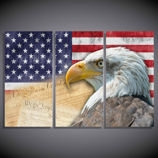 Unframed Abstract Modern 3 Panel Eagle Home Decor Canvas Print Painting Wall Art American Flag For Living Room Modular Picture
