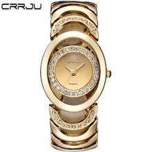Marca de lujo de diseño Maravilloso CRRJU Feminino Relogio Del Reloj de Acero Relojes de Cuarzo de Las Mujeres Relojes de Pulsera Pulsera de Las Señoras Relojes Mujer