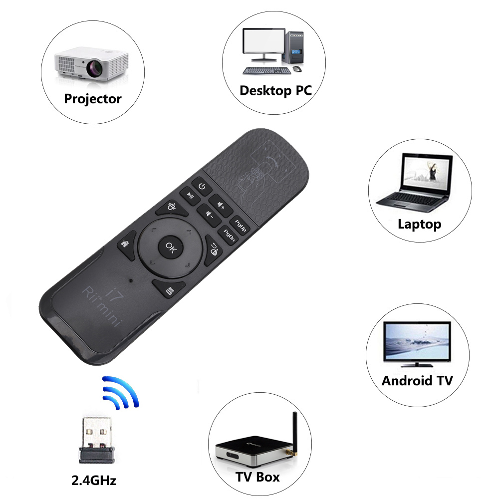 Rii i7 2.4G Wireless mini Gaming Fly Air Mouse Remote Control for Smart TV Android TV Bo ...