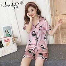 Mode été 2018 pyjamas femmes vêtements de nuit col rabattu 2 ensemble deux pièces chemise + short Cartoon pyjama décontracté ensembles