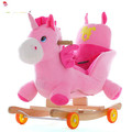 Children solid wood rocking horse Trojan horse shook his car music baby rocking chair dual 1-3 years old Early Learning