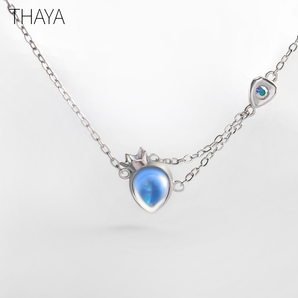 Thaya Original Princess and Knight Necklace Natural Moonstone Water Drop Shape Design Sterling Silver for Women