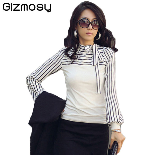 2d986ba4244d4 Blouse Female Spring Shirt Autumn Long Sleeve Sexy Blouses White Black  Striped Lady Work Office Slim