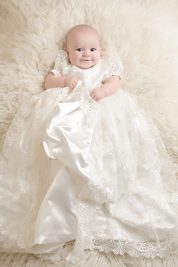 New Infant Baby Christening Dresses Baptism Gown Baby Girl Boy Party Dress Kids Clothes 0-24month