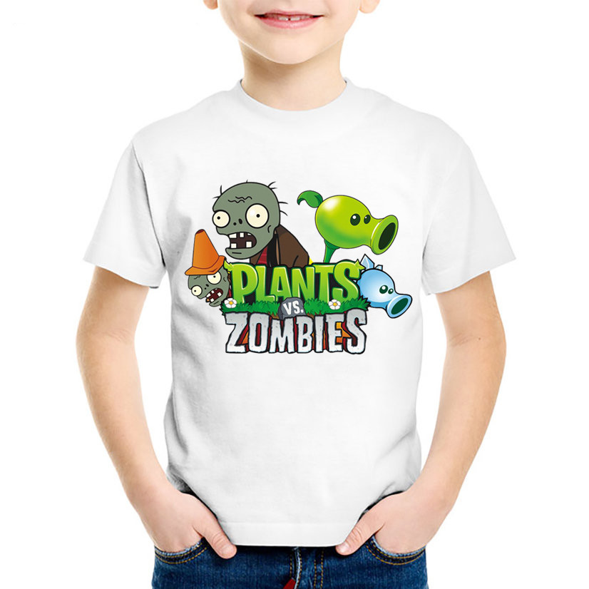 Children Cartoon Print Plants Vs Zombies Funny Game T shirt Kids Summer Tees Boys/Girls Casual Great Tops Baby Clothes,HKP2140 teesclub plus size t shirt kid game plants vs zombies print t shirt boy tops 2018 short sleeve children clothing 3t 9t