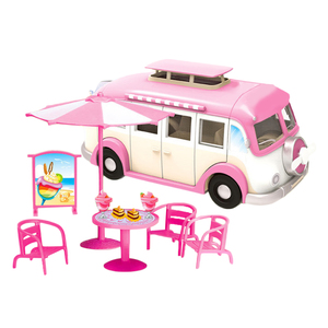 Image 2 - Kids Cute Mini Camper Car Simulation Plastic Pink Motorhome  Vehicle Dollhouse Furniture Accessories for Barbie Pretend Play Toy