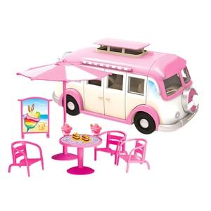 Image 2 - 어린이 귀여운 미니 캠핑카 시뮬레이션 플라스틱 핑크 Motorhome 차량 인형 집 가구 액세서리 바비 인형 놀이 장난감
