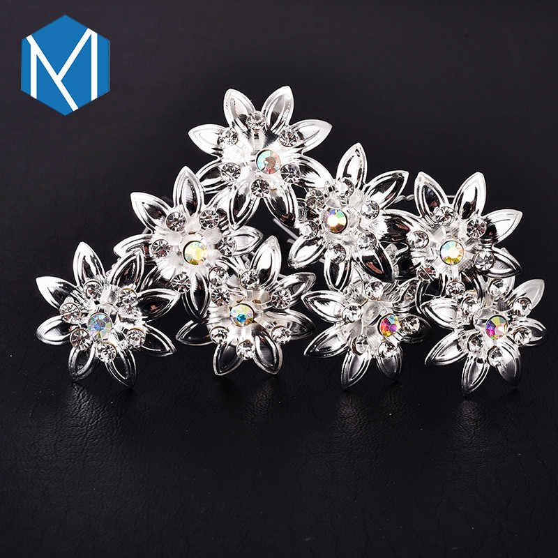 1716f0d772 M MISM 12PCS Rhinestone Metal Flower Hairpins Hair Accessories Hair Pick  Stick Clips Hairgrip For Women Bride Wedding Party