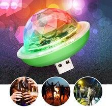 Автомобильный интерьерный атмосферный светильник s Mini USB светильник s лампа для Apple Android телефон портативный штекер и игра диско сценический светильник