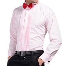 bb8dbcb154d Mens Wedding Shirt With Bowties Dress Shirts French Cuff Red   Pink   Black    White