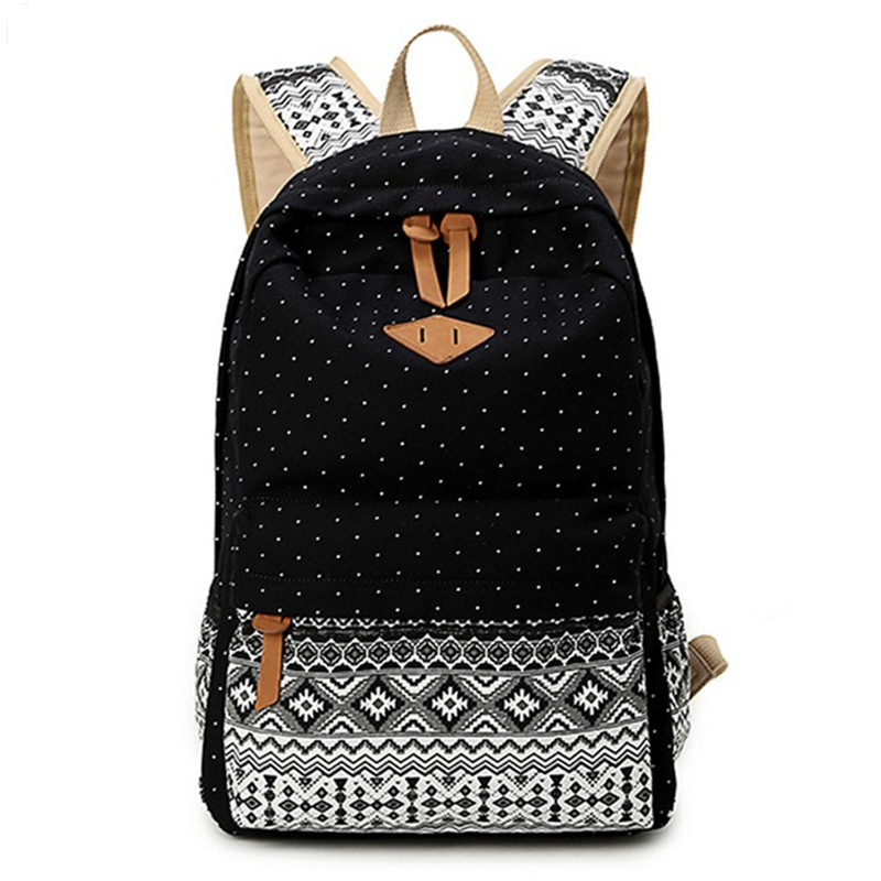 2016 Vintage Stylish Ladies Bag Backpack Ethnic Women Backpack for School Teenagers Girls Female Blue Dotted Printing Mochila high quality 4 95 for lg google nexus 5 d820 d821 full lcd display touch screen digitizer assembly complete with frame black