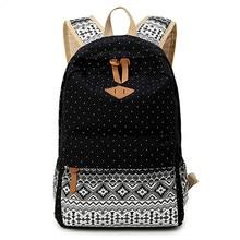 2016 Vintage Stylish Ladies Bag Backpack Ethnic Women Backpack for School Teenagers Girls Female Blue Dotted Printing Mochila