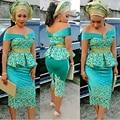 Зеленый С Плеча Золотой Кружева Бархат Африканских Нигерийских Баски Вечернее Платье Чай длины Оболочки Женщины Вечерние Формальные Платья платья