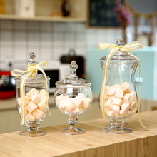 Transparent High quality glass bottle Kitchen Storage small Food Ingredient Biscuit Candy Jar