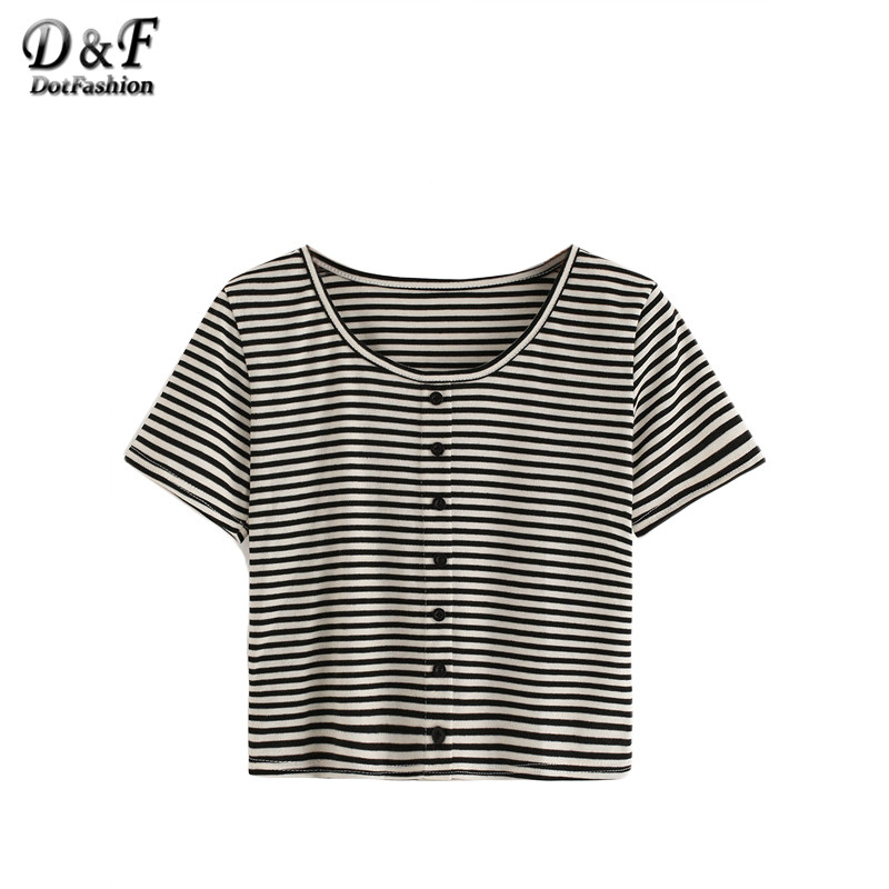 Dotfashion Black and White Striped Tops Summer Casual Wear ...
