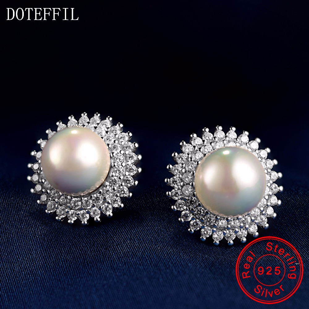 100% Sterling Silver Women Charm Pearl Earrings 925 Silver Fashion Zircon Round Stud Earrings Luxury Women Jewelry