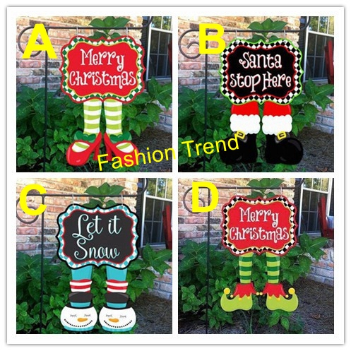 100pcslot wholesale monogram blank christmas elf pants stocking garden flag 4 styles outdoor yard - Wholesale Christmas Yard Decorations