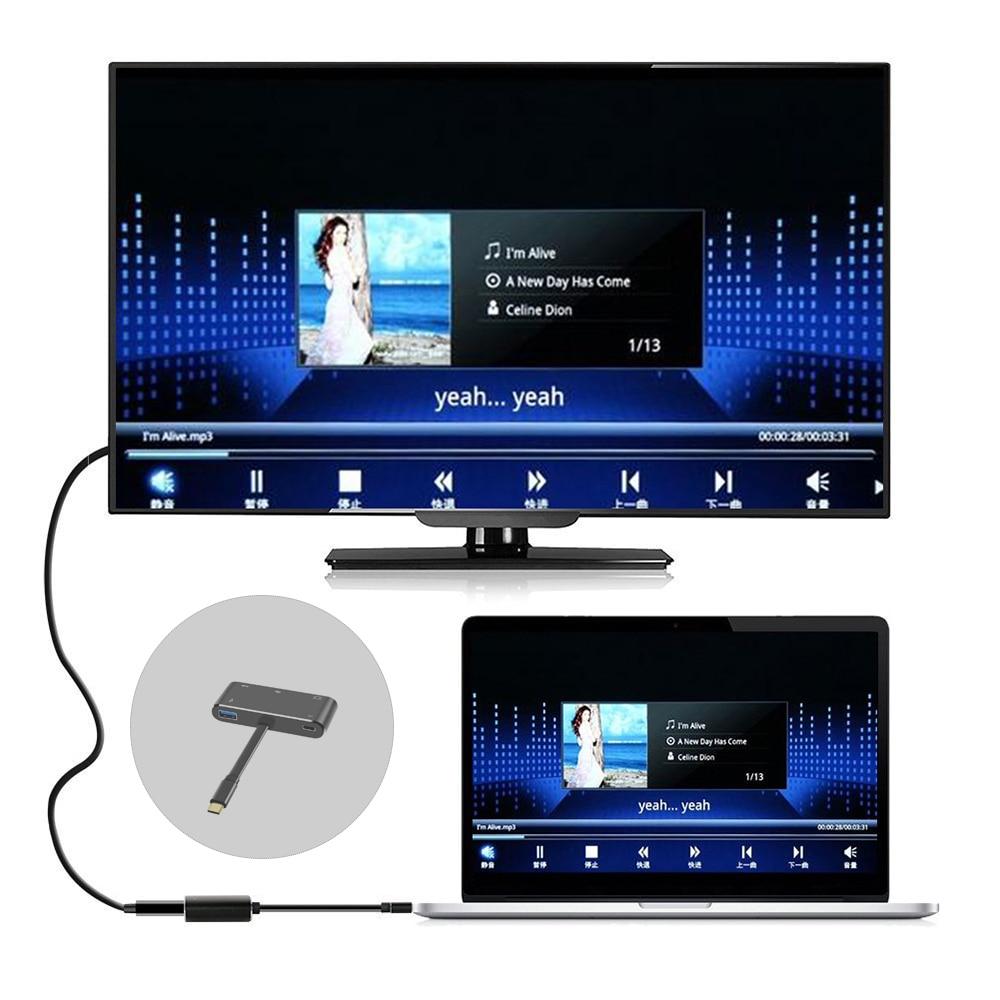 5 в 1 USB C к HDMI адаптер 4K Type C к HDMI/VGA/аудио/USB 3,0 порт + USB C порт (PD) конвертер для ноутбука Macbook переключатель