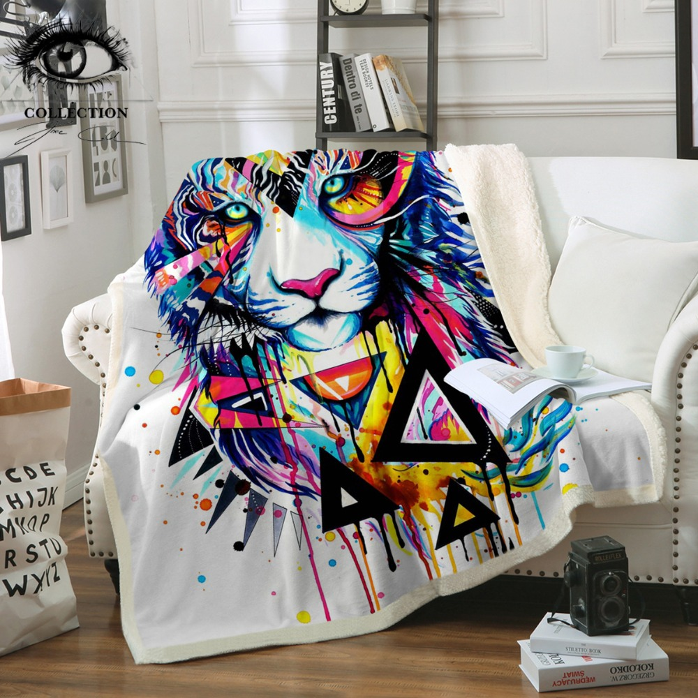 Brisé Tigre par Pixie Froid Art Microfibre Lit Couverture Animaux Jeter Couverture Géométrique Aquarelle Couvre-lits Coloré manta