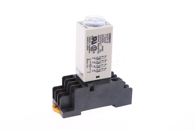 AC 220V 5A H3Y-4 H3Y Delay Timer Time Relay 0-5 Second 5s 220VAC & Base