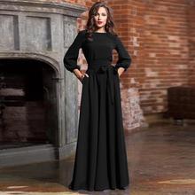 Черное платье макси большого размера женское летнее Повседневное платье с рукавом-фонариком Элегантное Длинное платье с поясом vestidos mujer
