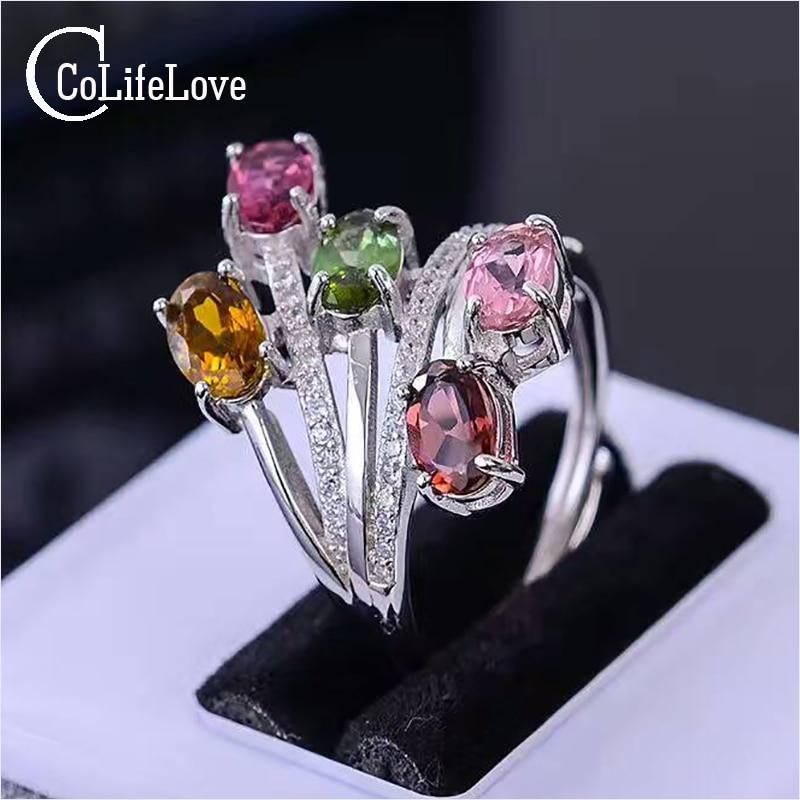 все цены на CoLife Jewelry fashion silver tourmaline silver ring 4 pcs multicolor tourmaline ring solid 925 sterling silver gemstone ring онлайн