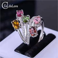 CoLife Jewelry Fashion Silver Tourmaline Silver Ring 4 Pcs Multicolor Tourmaline Ring Solid 925 Sterling Silver