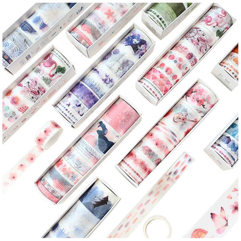 8 Pcs/Set Washi Tape Masking Washitape Wasi Tape De Decoracion Scrapbooking Cute Floral Deco Planner Wide Sakura Decorative