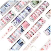 Купить с кэшбэком 8 Pcs/Set Washi Tape Masking Washitape Wasi Tape De Decoracion Scrapbooking Cute Floral Deco Planner Wide Sakura Decorative