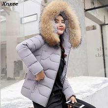 New Women Winter Long Coat Big Fur Collar Fashion Female Short Duck Parkas Jacket Thick Warm Coat Slim Wadded Jacket