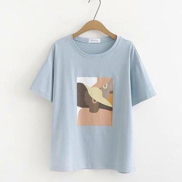 Abstract Printing White T-Shirts Tees Women Short Sleeve O Neck Tops 2019 Summer Student T-Shirts Harajuku 3