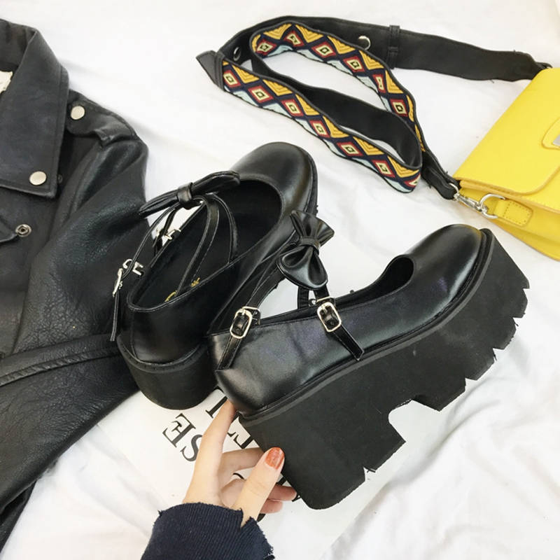 Primavera Piattaforma Zeppe Alto Asileto Di Lolita Nodo Pattini Tacco Della Black Arco Pompe S1028 Fibbia Zapatos Marca Signora Donne Autunno Scarpe Cosplay d7wA4x7Tq