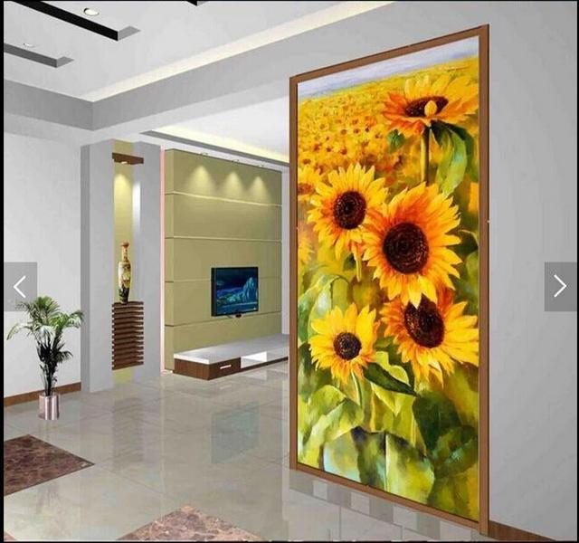 3d girasol floral murales para sala pared del arte pasillo for Sala girasol