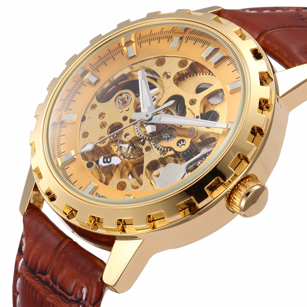 все цены на  brand leather band men male military clock automatic Skeleton mechanical Watch self wind Vintage luxury quality gift Steampunk  онлайн