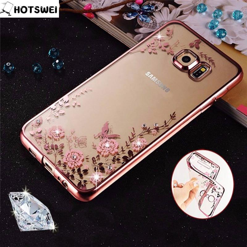 Galleria fotografica For Samsung J3 J1 J5 prime 2016 Case for Samsung Galaxy J5 J3 J7 2017 Cases Luxury Clear Crystal Rhinestone Flower Soft TPU Case