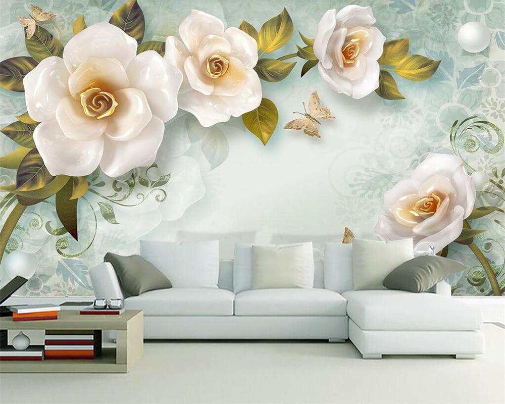 Beibehang Custom Wallpaper 3D Embossed Roses European-style TV Background Wall Living Room Bedroom Background Walls 3d Wallpaper