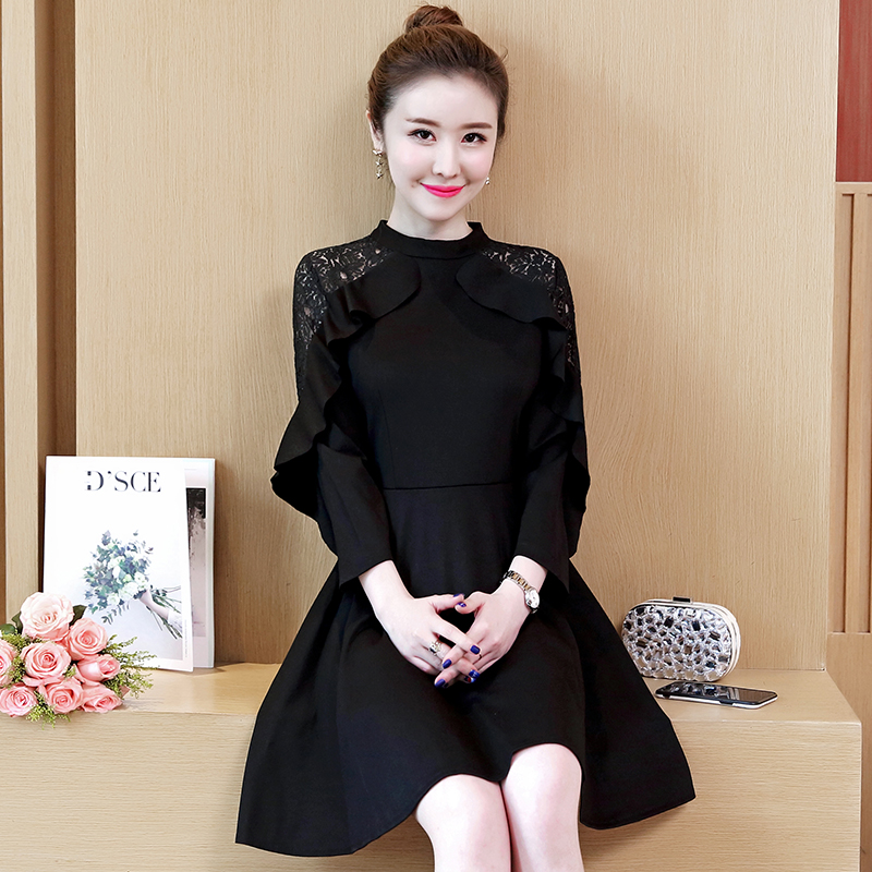Autumn Dress Women Red Black Lace Ruffles Decor OL Korean Fashion Vestido Girl Outfit Big Yards New Design Plus Size L 5XL in Dresses from Women 39 s Clothing